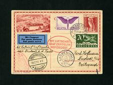 Zeppelin card Sieger 75 1930 Pfalz flight Switzerland postage