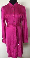 NWT LAUREN Ralph Lauren Satin Pink Belted Holiday Christmas Shirt Dress 12