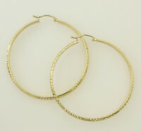 14K Yellow Gold 3mm Thickness Diamond Cut High Polished Fancy Cut Hoop Earrings