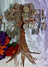 """Collectible Copper Wire Art Deco Tree Chinese Lucky State Quarter Money Tree~10"""""""
