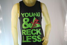 YOUNG & RECKLESS BLACK MEN TANK TOP GREEN GRAPHICS size Large