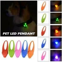 LED Pet Dog Cat Puppy Collar Nite Night Light Safety Clip Flashing Neon Pendant