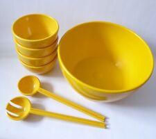 XL bright yellow melamine plastic salad bowl set: servers, 4 bowls. Vintage 80s?