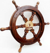 """24"""" Ship Wheel Pirate Captain Boat Steering Maritime Wooden Collectible Nautical"""