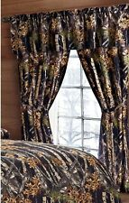 BLACK CAMO CURTAINS 5pc SET 84 x 84 : WOODS CABIN TREE HUNTING WINDOW CURTAIN
