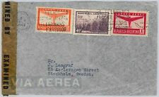 ARGENTINA - postal history: AIRMAIL COVER  to SWEDEN - 1943 - CENSOR TAPE