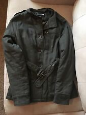 Women's Forever 21 Hunter Green Coat Button Down Jacket with Belt Size Medium