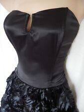 Vintage Dress 40s 50s Rockabilly Goth Bustier Corset Black Satin Rose 12 40 US 8