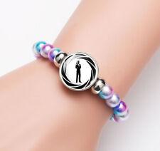 James Bond Pistol Glass Noosa Snap Chunk Elastic Multicolor Beads Bracelet