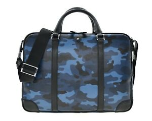 Montblanc Briefcase Document Bag Blue Camouflage Saffiano Leather New