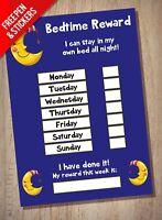 Bedtime Nightime Reward Chart - Kids Childrens Sticker Star - Sleep In Own Bed