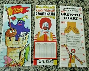 3 Ronald McDonald Growth Charts - All Different - Unused - 1970's - 80's