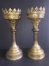 Outstanding Pr 13 1/8� Solid Brass Medieval Style Chalice Candleholders