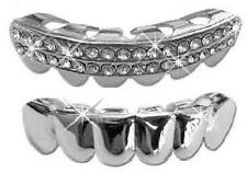 Hip Hop Silver Platinum Mouth Teeth Grills Grillz - Bottom Lower 2pc Set
