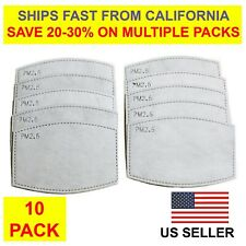 10 Pack / Pieces Pm2.5 Carbon Replacements 5 Layer Air Filter Adult Face Mask
