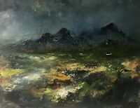 ORIGINAL PAINTING  Acrylic On Canvas 40x30cm 'Rain Storm Over Snowdonia'