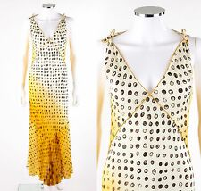 JEAN PAUL GAULTIER Femme Yellow White Ombre Brown Polkadot Maxi Sun Slip Dress 6