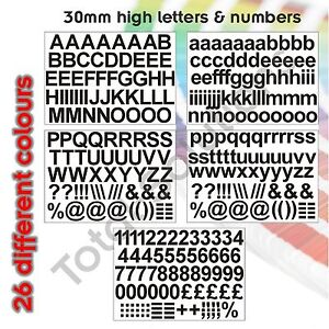 30mm Self Adhesive Vinyl Sticker Letters and Numbers  - Upper & Lower case