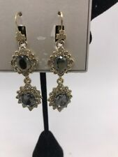$68 Marchesa gold tone pave colored stone double drop earrings Mm1