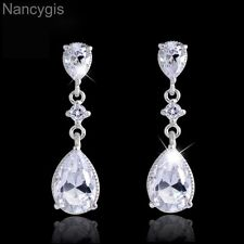 Crystal Swiss Cubic Zirconia Teardrop Party Bridal Wedding Earrings