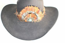 Feather Hatband New Leather Tie Rodeo Fashion Hat Band Horse Show Parade Crown T