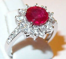 Striking 2ct Ruby and White Topaz halo ring in Sterling Silver, Size M.