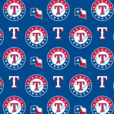 Texas Rangers on Blue MLB Baseball Sports Team Cotton Fabric Print by the Yard