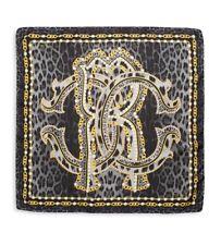 "ROBERTO CAVALLI Silk Chain And Leopard Print Square Scarf Black Gold 34""*33"" NEW"