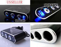 3 way car socket extension cigarette lighter 12v splitter+ USB Port