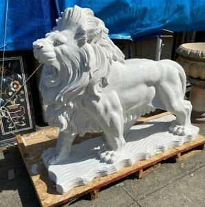 Large Carved White Marble Lion Statue