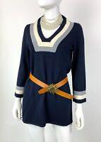 Tory Burch New 8 US 44 IT M Navy Gray Knit Wool Tunic Sweater Dress Runway Auth