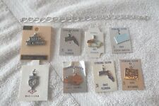 Vintage NEW Sterling Silver Charm Bracelet with 8 UNUSED Travel & State Charms
