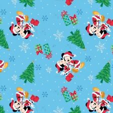 Disney Mickey and Minnie Christmas Love Holiday Blue Cotton Fabric Fat Quarter