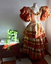 Bust 88 cm: Vintage Authentic Flamenco Gypsy Dress Frida Kahlo Feria Gitana