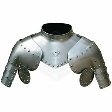Medieval Larp Gothic steel Pair Of Pauldrons With Gorget Shoulder Armor