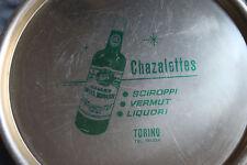 Vassoio vintage da collezione in latta, serigrafato Chazalettes Torino liquori