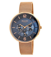 Regent Rose Gold Women's Ladies 36mm Stainless Steel Watch, Blue Dial - 12210976