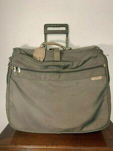 "BRIGGS & RILEY Baseline Olive Wheeled Garment Bag Suitcase Travel luggage 23"""
