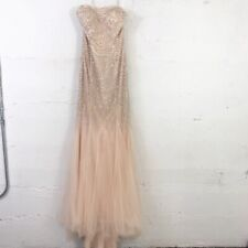Terani Couture Nude Beaded Mermaid Strapless Prom Formal Dress Gown Size: 2