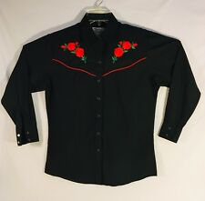 Ely WESTERN SHIRT Pearl Snaps Country Charmer Rodeo, Embroidered Roses