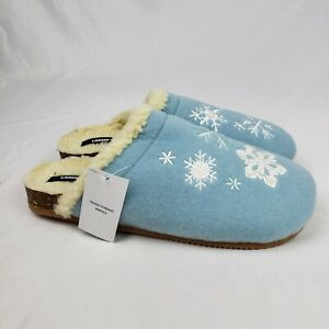 Land's End Womens Snowflakes Felt Scuff Slippers Soft Sherpa Lined Blue