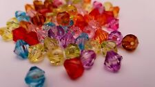 250 x 8mm Mixed Colour Acrylic Transparent Faceted Bicone Spacer Beads