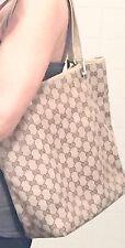 Authentic GUCCI Beige Brown Canvas Leather GG Monogram SHOPPER TOTE BAG HANDBAG