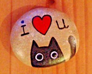 Hand painted rocks, stones, pebbles. Cat, Love heart, valentines, birthday gift