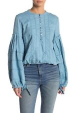 Free People Top HIGH SWELLS Embroidered Bell-Sleeve Sz S