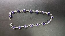 """14K White Gold Evil Eye Good Luck Blue 4mm Crystal Bracelet chain 7"""""""