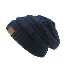 Men Women Plain CC Beanie Cap Slouch Bubble Knit oversize Baggy Winter Ski Hat