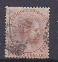 SPAIN 1872 Amadeo I - 4 Pta Brown Red Used 188 (Mi.119)