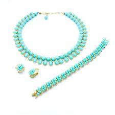 Vintage Trifari Costume Jewelry Set Necklace Earrings Bracelet Turquoise & Gold