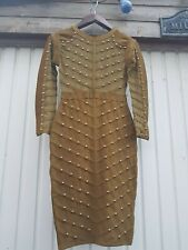 Immaculate gold studded  Bandage dress khaki green size12
